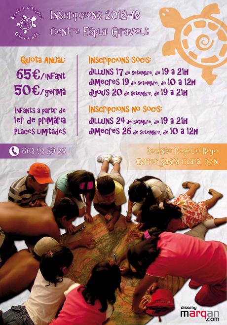 Cartell per a les incripcions del Centre d'Esplai Giravolt de Masquefa, per al curs 2012-13